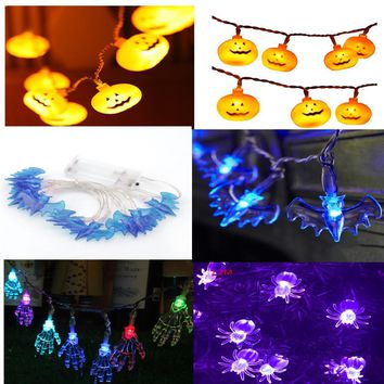 1 Pc of 4 Styles Funny 1.2/2.5m 3.94/8.20ft LED Pumpkin Light Bulb String for Halloween Garden Home Decor Party Night Prop