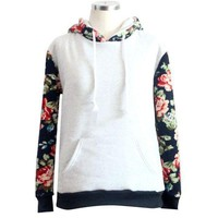 Women Floral Long Sleeve Fleece Hoodie Sweatshirt Pullover Tops Hooded Coat I
