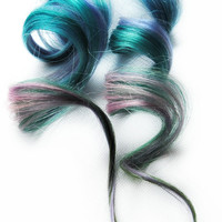 Human Hair Extension, Spring hair, extension, Blue, Purple, Pink, Green clip in hair, Tie Dye Colored Hair - Genie