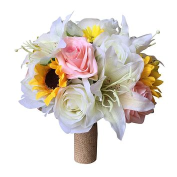 Rustic Bridal Bouquet - Ivory, Yellow, and Baby Pink Rose, Sunflower, and Stargazer Lily Bouquet