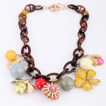 Insects and Flower Statement Necklace