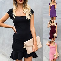 Women's Dresses Summer Dress Womens Casual Short Sleeve Ruffle Hem Solid Bodycon Evening Party Dress