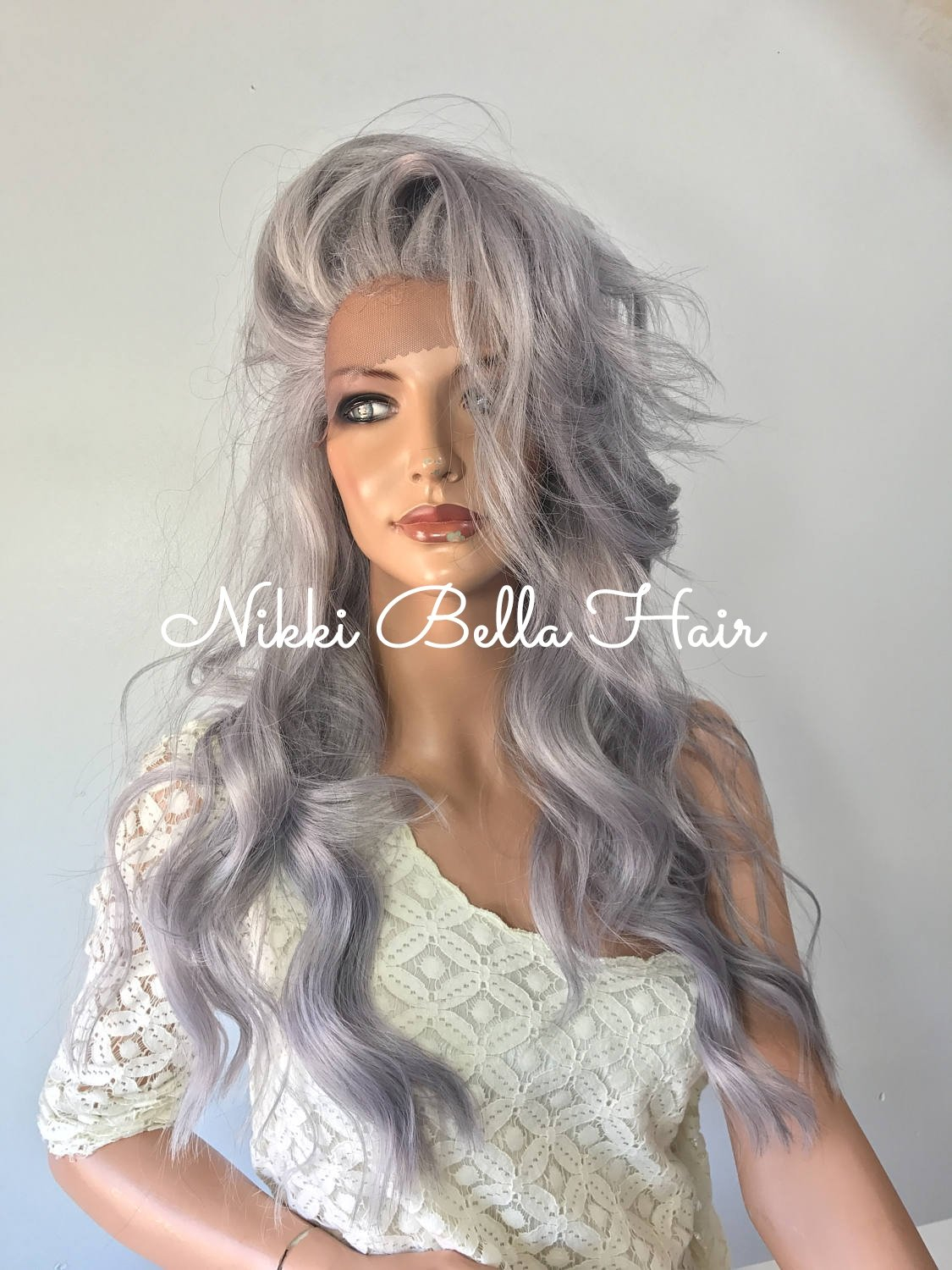 Image of Grey human hair blend multi parting lace front wig 22'