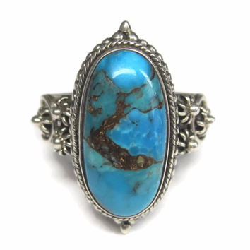 Vintage 90s Sterling Bali Turquoise Ring Size 10