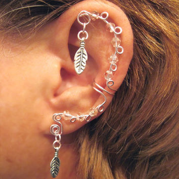 Non Pierced Cartilage Cuff Crystal Feathers Ear Cuff Color Choices