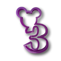 Mickey Mouse Inspired Number Three-3rd Year Birthday Cookie Cutter