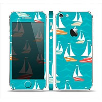 The Vector Colored Sailboats Skin Set for the Apple iPhone 5