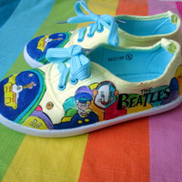 Personalized handpainted shoes, The Beatles shoes, custom sneakers,Yellow Submarine