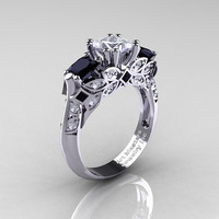 Classic 14K White Gold Three Stone Princess CZ Black and White Diamond Solitaire Engagement Ring R500-14KWGDBDCZ