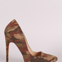 Liliana Suede Camo Pointy Toe Pump