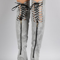 Houndstooth Back Lace Up Pointy Toe Stiletto Over-The-Knee Boots