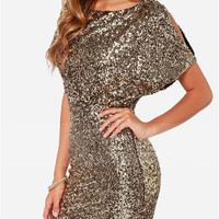 WealFeel Golden Sequin Halter Slim Bodycon Dress