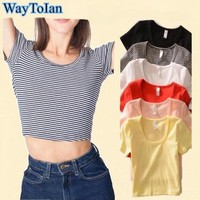 2017 Summer Slim Render Short Top Women Sleeveless U Croptops Tank Tops Solid Black/White Crop Tops Vest Tube Top 7Color