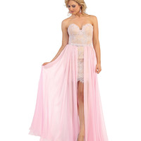 Pink & Nude Strapless Lace Convertible Dress 2015 Homecoming Dresses