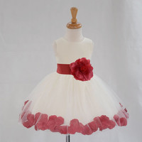 WHITE flower girl dress wedding formal pageant rose petals Knee Length  12-18m 2 3t 4 6 8 10 306a