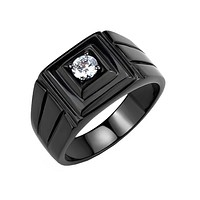 Maximus - Men's Black Ion Plated Stainless Steel CZ Statement Ring