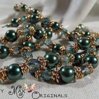 Green Glass Pearls and Czech Beads with Gold Plated Findings Set