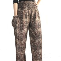 Boho Pants Hippie Boho Peacock Design Gypsy Pants Yoga Pants
