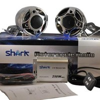 """Shark SHKMRC3090DBC 250w Motorcycle/Snowmobile Audio System with 3"""" Speakers (Chrome)"""