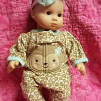 """Baby doll clothes """"Lil' Wild"""" (15 inch) doll outfit Will fit Bitty Baby®  sleeper and headband hair clip monkey animal print  D1"""
