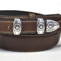 Nocona Men's Western Ranger Leather Belt w/Star Buckle-Brown