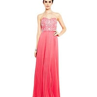 B. Darlin Strapless Beaded-Bust Pleated Gown | Dillard's Mobile