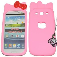 Samsung Galaxy S3 I9300 Light Pink Hello Kitty Polka Dot Bow Silicone Case + Hello Kitty Dust Protector Plug-In Charm - Combo Deals By Sndplace