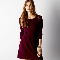 AEO Lace Shoulder Sweater Dress, Burgundy | American Eagle Outfitters