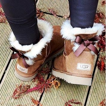 """UGG"" Women Fashion Bow Leather Wool Snow Boots"