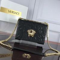 HCXX V0012 Versace Embroidered Expanding File Handbag 25-18-6.5cm Black