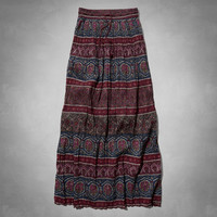 Pattern Pleated Maxi Skirt