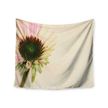 """Sylvia Coomes """"Pink And Yellow Flower"""" Blush Floral Wall Tapestry"""