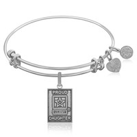 Expandable Bangle in White Tone Brass with U.S. Army Proud Daughter Symbol