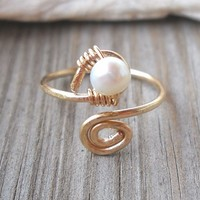 Fresh Water Pearl Wrapped Hammered 14K Gold Filled Spiral Toe Ring