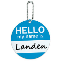 Landen Hello My Name Is Round ID Card Luggage Tag