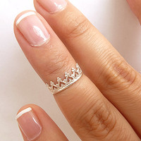 Crown Knuckle Ring - Sterling Silver Above Knuckle Ring - 5mm Band Adjustable- Midi Ring - Mid Knuckle Ring Tiara Knuckle