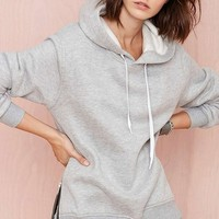 Boyfriend Side Zip Slit Hooded Fleece Sweatshirt Pullover Loose Sports...