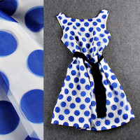 Solid Blue Polka Dots Bow  Swing Organza Dress