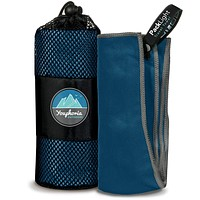 Youphoria Outdoors Microfiber Travel Towel - Ideal Fast Drying Towels for Camping, Travel, Beach, Backpacking, Gym, Sports, and Swimming - Lightweight, Quick Dry and Absorbent - 3 Size Options Dark Blue/Gray 28x56-Inch