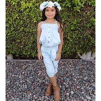 Girls Jeans Tank Top + Pants Outfit 2-7T