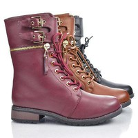 Battle25 By Bamboo, Round Toe Zipper Ankle Cuff Buckled Lace Up Ankle Combat Boot