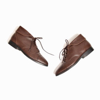 Vintage Cap Toe Leather Ankle Boots in Cocoa Brown - women's 8