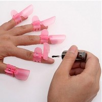 Cyprustech - 10x Pink Manicure Finger Nail Art Design Tips Cover Polish Shield Protector Clip - Japan New Hot