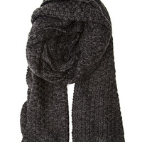 FOREVER 21 Textured Knit Scarf Black/Charcoal One