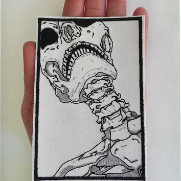 Artistic Skeleton Head and Neck Embroidery Patch