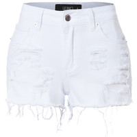 LE3NO Womens Stretchy Medium Rise Ripped Denim Jean Shorts with Pockets (CLEARANCE)