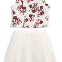 Girl's Zunie Floral Brocade Top & Tulle Skirt