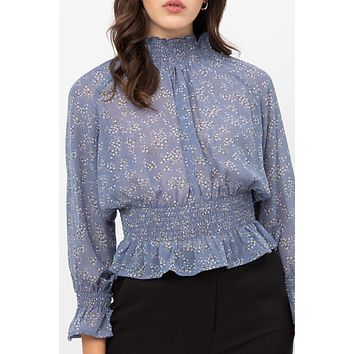 High Neck Smocked Long Sleeve Blouse Top