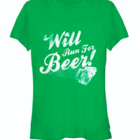 Chinup St Patricks Day Will Run For Beer Womans Heather Crew Tee