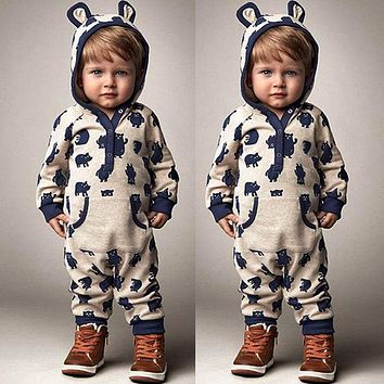 Kids Baby Boys Girls Warm Infant Romper Jumpsuit Cute Bear Gray Hooded Cotton Clothes Outfits Autumn
